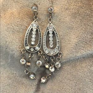 Avon-Used Silver & faux diamond necklace w/earring